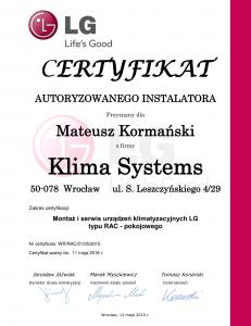 Certyfikat Autoryzowanego Serwisu LG